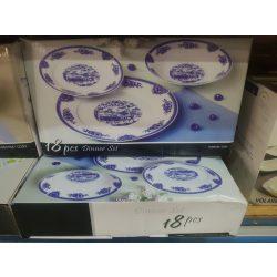 Étkészlet porcelán kék kerek 18 részes