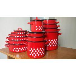Zománcozott fazék fedővel 15 l piros, pöttyös