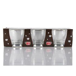 Üveg pohár fém füllel kávés 3 db-os 110ml Nr.300345