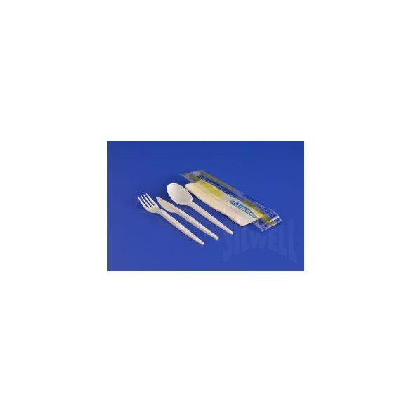 Eldobható Evőeszköz csomag fehér kanál+villa+kés+szalvéta
