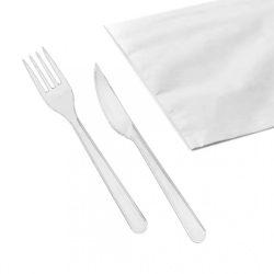 Eldobható Evőeszköz csomag fehér villa+kés+szalvéta