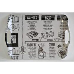 Füles tálca műanyag 35,5X25,5X2,2 cm Breakfast menü M40354